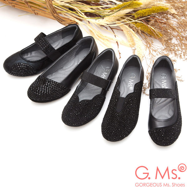 G.Ms.燙鑽坡跟系列-羊皮拼接麂皮懶人鞋B款*黑色