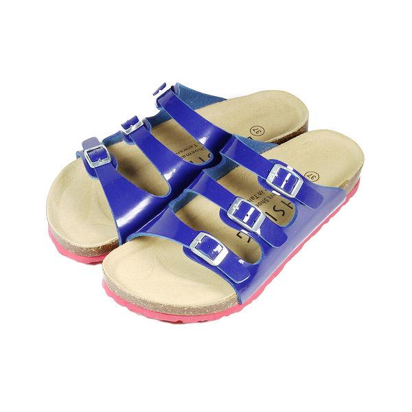 【LIHSING 鏡面藍帶腳床拖鞋 藍鏡 女】