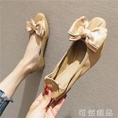 春季新款平底鞋女鞋软底软皮蝴蝶结舒适蛋卷鞋方头百搭瓢船鞋 可然精品