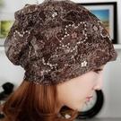 韓版女士春夏天薄款蕾絲頭巾帽月子堆堆帽包頭帽夏季網紗頭巾帽 店慶降價