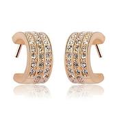 耳環 玫瑰金 925純銀鑲鑽-灑脫簡約生日情人節禮物女飾品2色73gs169【時尚巴黎】