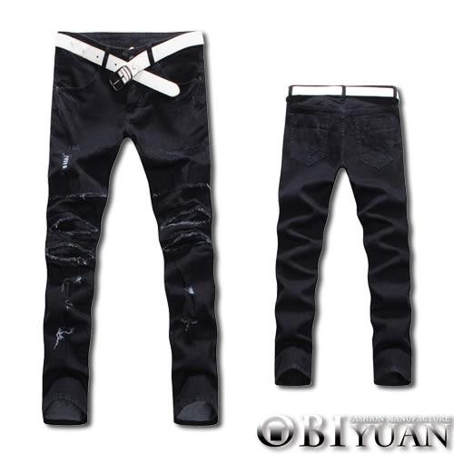 牛仔褲【JN3950】OBI YUAN韓版重度破壞刀割補釘彈性面料單寧休閒褲