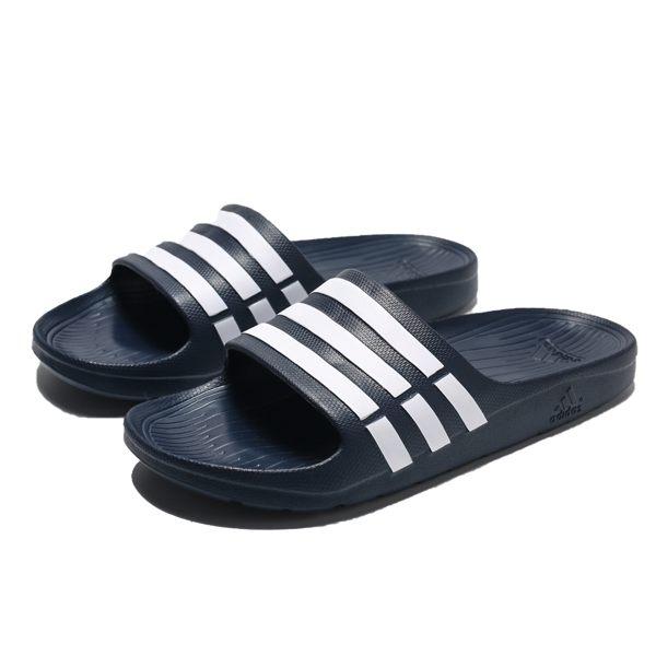 ADIDAS DURAMO SLIDE 深藍白條 防水 膠拖 拖鞋 男 (布魯克林) G15892