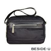 【BESIDE-U】Platinum系列 簡約實用休閒方包/ 側背包 - 沉穩黑_BTI017F11100B