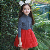 高領長袖洋裝 磨毛上衣 紗紗裙 女童 彈力 連身裙 洋裝 洋裙 連衣裙 Augelute 50644