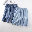 牛仔五分褲 天絲牛仔短褲女高腰超薄款夏季寬鬆顯瘦垂感寬管熱褲五分中褲-Ballet朵朵
