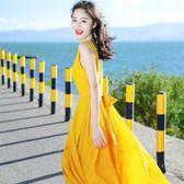 洋裝 沙灘裙巴厘島海灘裙系帶雪紡連身裙波西米亞長裙