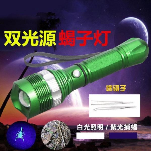 手電筒 蝎子燈捕蝎紫光強光手電筒大功率超亮遠射可充電捉豆蟲燈大容量燈