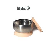 美國 little.b 316 不鏽鋼餐具系列-雙層不鏽鋼吸盤碗(暖暖橘)