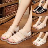 水晶果凍鞋女涼鞋夏平底塑料防水洞洞沙灘鞋Y-1042