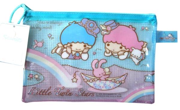 【卡漫城】 雙子星 網袋 化妝包 ㊣版 港版 拉鍊式 防水透明 筆袋 萬用收納包 Twin Stars Kikilala