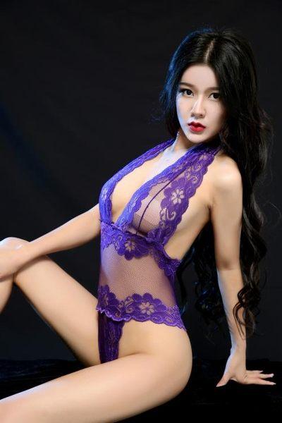 歐美露乳透明連體情趣內衣黑色緊身包衣式蕾絲網紗性感誘惑套裝1013