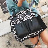 單肩大包包女新款潮韓版百搭斜背包大容量豹紋時尚手提包 居家物語