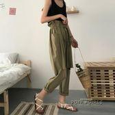 夏季新款女裝韓版寬鬆綁帶鬆緊腰破洞顯瘦高腰休閒褲闊腿褲九分褲