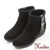 ★2017秋冬新品★kadia.2way針織拼接牛麂皮短筒靴(7719-93黑色)