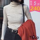 打底衫 -Tirlo-小高領坑紋條紋打底...