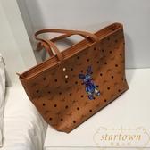 大包包托特包大容量軟皮手提單肩包女包購物袋【繁星小鎮】