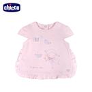 chicco-粉紅玫瑰-荷葉邊短袖上衣