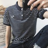 POLO衫日系正韓夏季青少年潮男條紋短袖翻領T恤正韓修身Polo衫半袖tee潮【快速出貨】