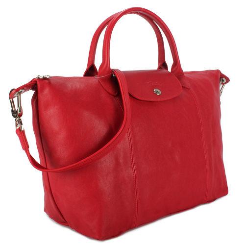 LONGCHAMP小羊皮短提把中型手提肩背兩用水餃包(紅色)480193-045