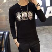 男裝印花圓領長袖T恤 韓版大學生打底衫上衣【非凡上品】cx542