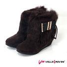 短靴 VelleMoven  靴子  流蘇 絨毛 百搭素面 氣質咖
