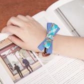 Poly Lulu 彩色格紋線條雙層彩蝴蝶結髮圈-藍(特價品)【99430806】
