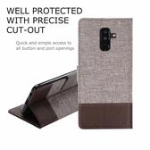 三星Galaxy A6 Plus 十字紋拼色 牛皮布 掀蓋磁扣手機套 手機殼 皮夾手機套 側翻可立式 外磁扣皮套