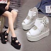 厚底涼鞋 魚嘴鞋 女坡跟松糕鞋內增高鞋12cm超高跟羅馬鞋