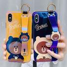 【SZ25】藍光手腕帶布朗熊全包軟殼 iphone xs max手機殼 xr防摔手機殼 iphone 8 plus手機殼 i6s plus 手機殼