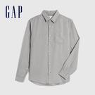 Gap男裝 清爽格紋翻領長袖襯衫 548296-灰色