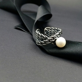 戒指 925純銀珍珠-優雅鏈條生日情人節禮物女開口戒73ic52【時尚巴黎】