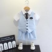 兒童西裝套裝男童帥氣英倫夏季短袖花童禮服寶寶周歲衣服男孩夏裝 幸福第一站