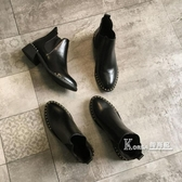 復古馬丁靴女英倫風秋季鉚釘時尚百搭短靴ins潮休閒切爾西靴 Korea時尚記