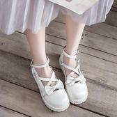 原創蝴蝶結洛麗塔lolita大頭娃娃鞋森女學院風學生軟妹平底小皮鞋 米娜小鋪