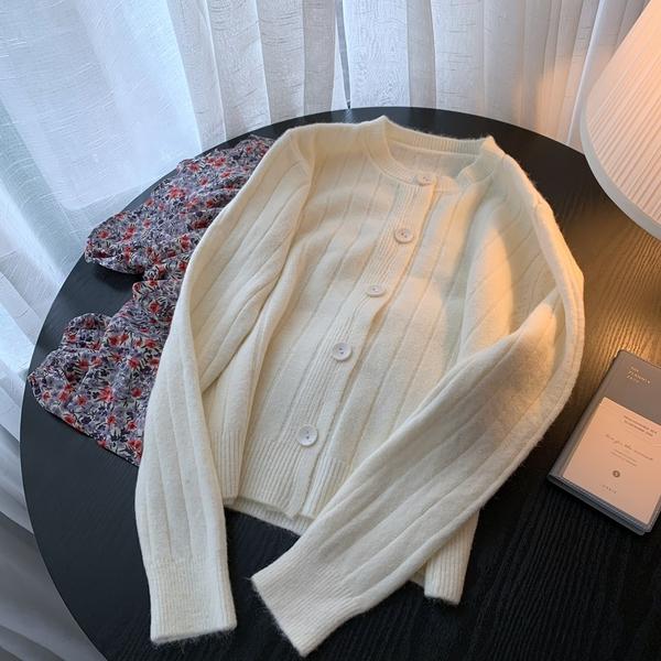 針織開衫 學院風紐扣毛衣開衫短款上衣女韓版寬松豎條紋顯瘦針織衫外套披肩
