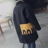 2019新款港風冬季撞色呢子外套韓版寬鬆加厚毛呢大衣男中長款風衣叢林之家