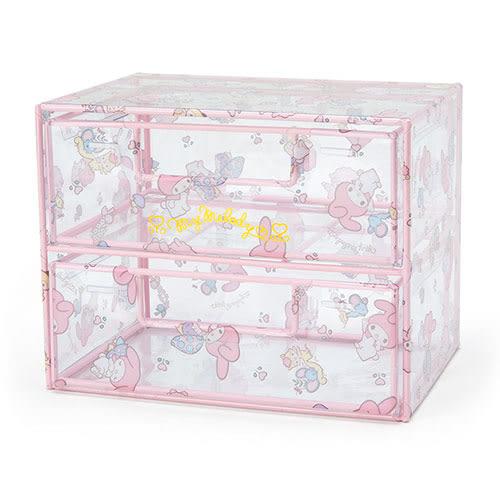 《Sanrio》美樂蒂透明PVC布面雙層抽屜式置物櫃(快樂森林) 713007