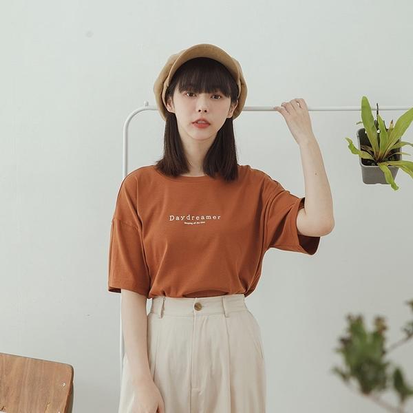 Queen Shop【01038787】Daydreamer圓領棉質短袖上衣 兩色售*現+預*