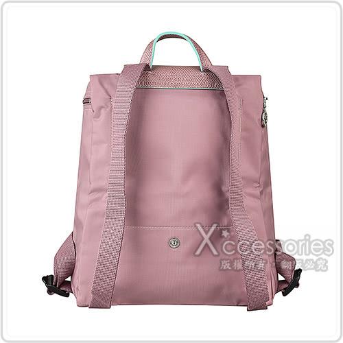 LONGCHAMP COLLECTION刺繡LOGO尼龍摺疊拉鍊後背包(粉紅x綠)