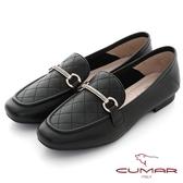 【CUMAR】復刻車格鑽飾方頭樂福平底鞋(黑色)