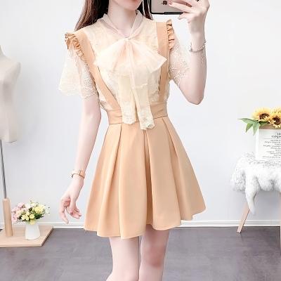 短袖套裝~3660#輕熟風氣質女神范姐妹裝百褶背帶裙蕾絲衫兩件套H311-E胖妞衣櫥
