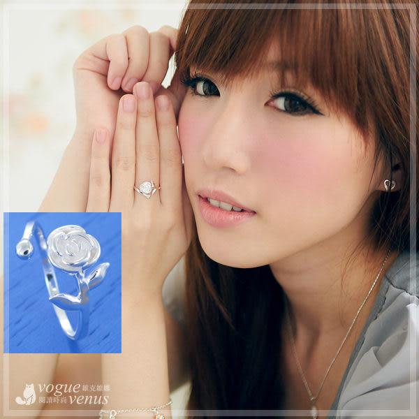 花舞盛開 立體玫瑰綴枝葉 925純銀戒指 可調式戒圍 - 維克維娜