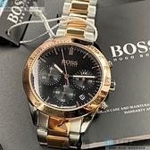 BOSS伯斯男錶42mm黑色錶面金銀相間錶帶