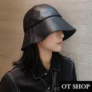 [現貨]帽子 黑色皮革漁夫帽 水桶帽 盆...