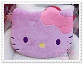 ♥小花花日本精品♥ Hello Kitty 乳膠坐墊 造型坐墊 椅墊 靠墊 絨毛大臉 紫色 蝴蝶結 99942106