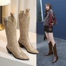 大尺碼女鞋34~46 2020帥氣網紅款尖頭中跟西部靴 長靴子 ~3色