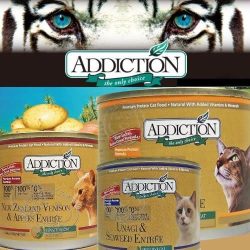 【培菓幸福寵物專營店】Addiction無穀鹿肉蘋果|鰻魚海苔|鮭魚馬鈴薯貓罐185g/罐