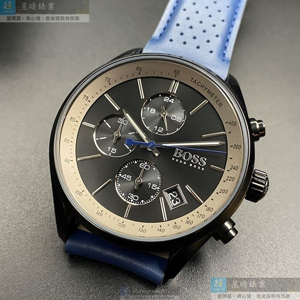BOSS伯斯男女通用錶44mm鐵灰錶面寶藍錶帶