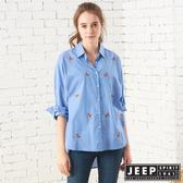 【JEEP】女裝 滿版狐狸圖騰長版長袖襯衫 (天空藍)